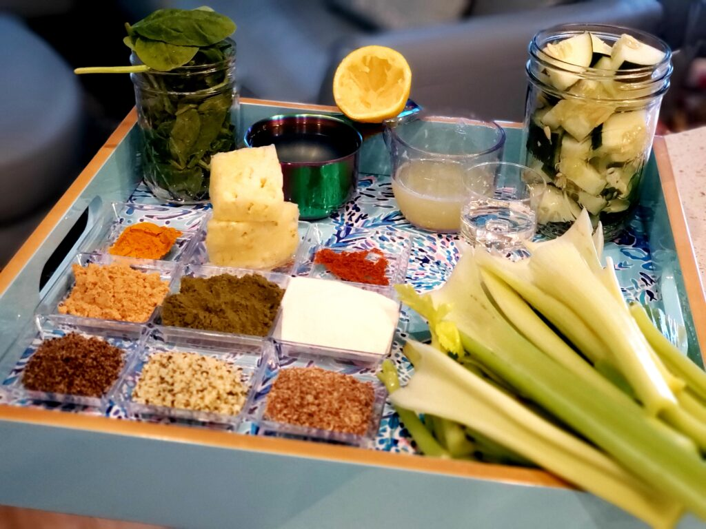 plate of ingredients with celery
