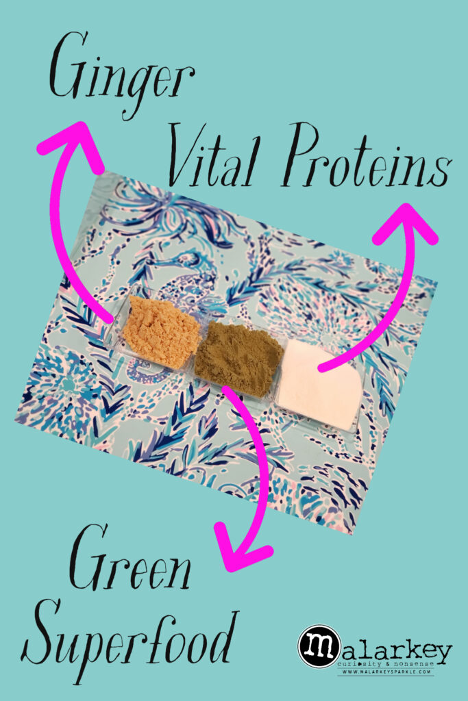 3 spices on a plate with labels ginger vital proteins and green superfood