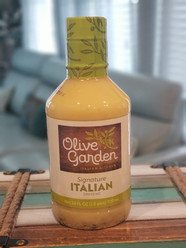olive garden dressing on top of counter