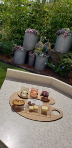 wine and cheese set up