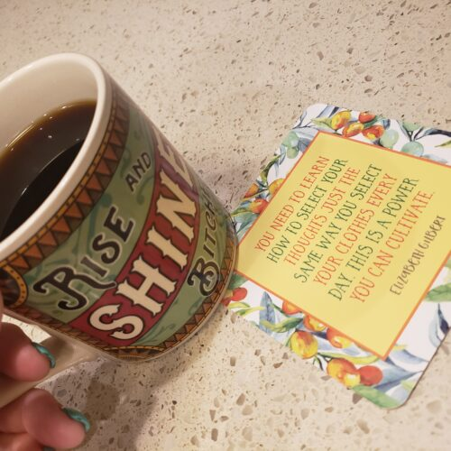 coffee cup and quote - rise and shine bitches