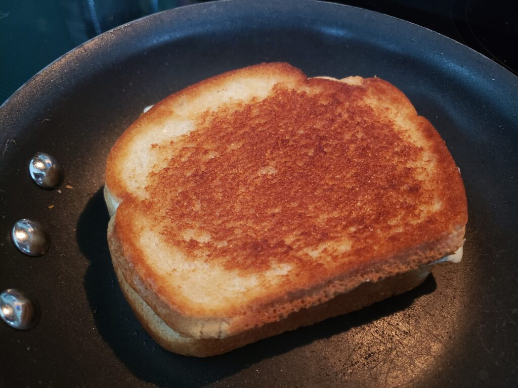 grilled cheese in a pan
