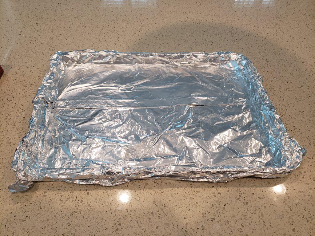tinfoil on a pan