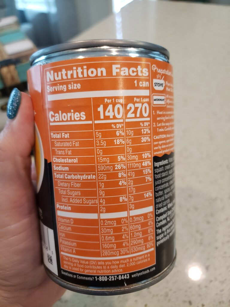 YES Soup nutrition facts