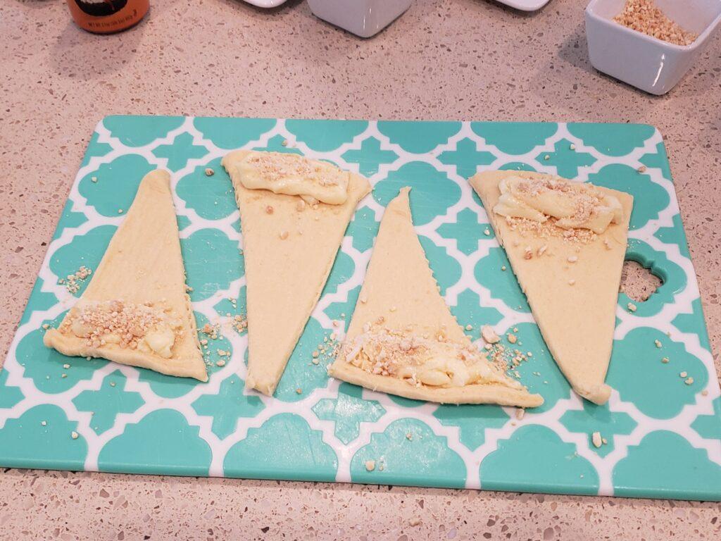 crescent rolls on a cutting board