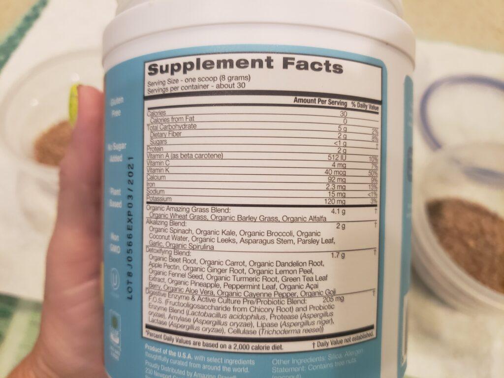 green super food - detox - back of the jar - facts