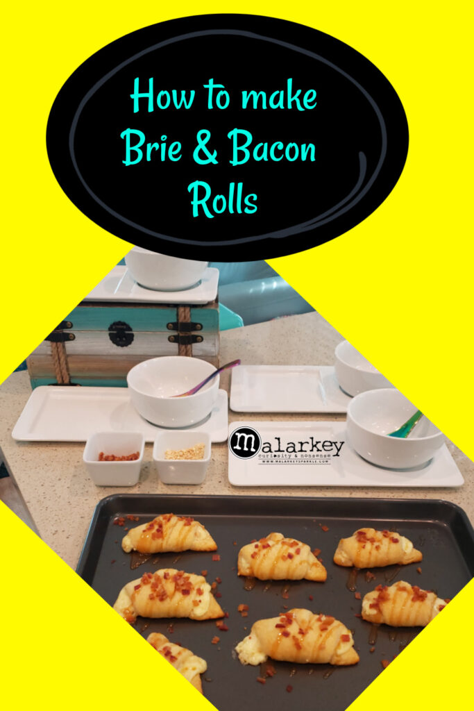 how to make brie and bacon rolls pic with rolls on a pan