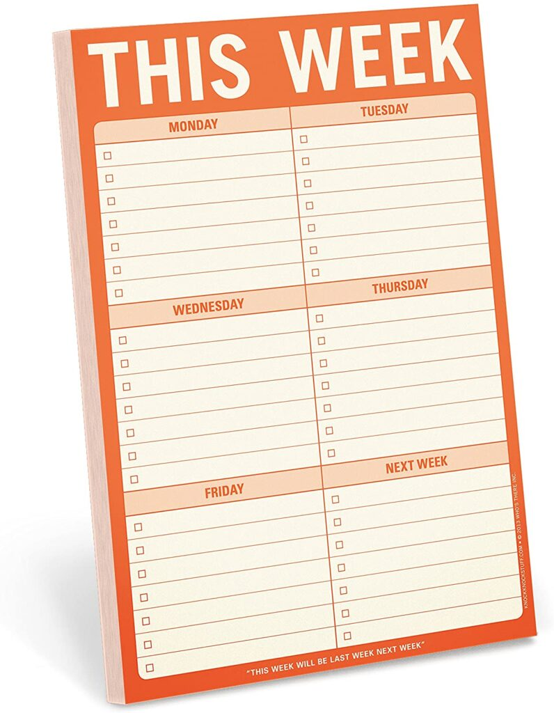 this week note pad - Tidy desk, Tidy Mind - DECLUTTER BOTH