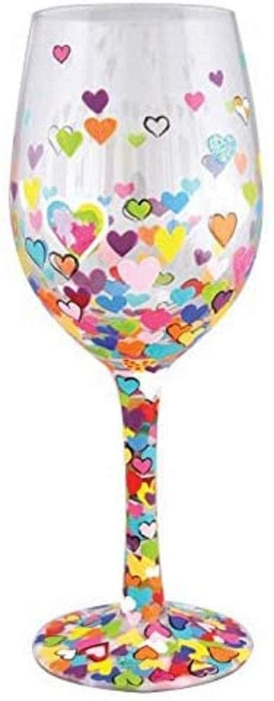 Valentines Day - spread love - wine glass with lots of hearts
