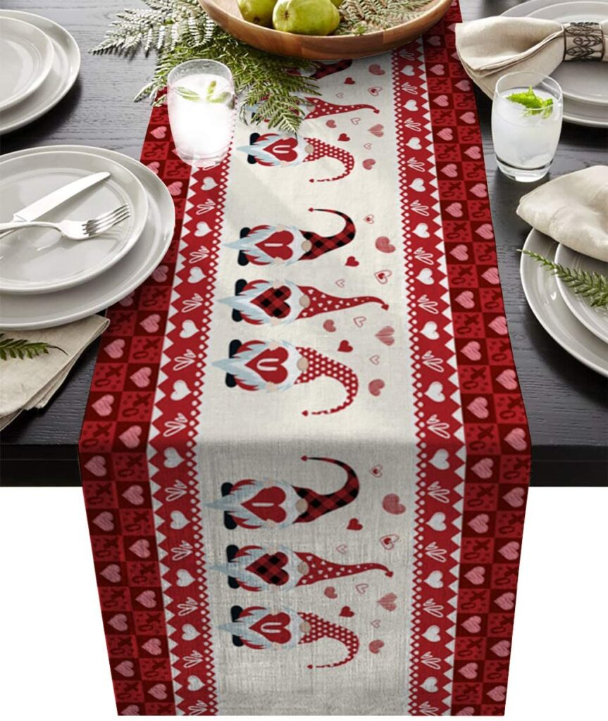 Valentines Day - spread love - gnome table runner