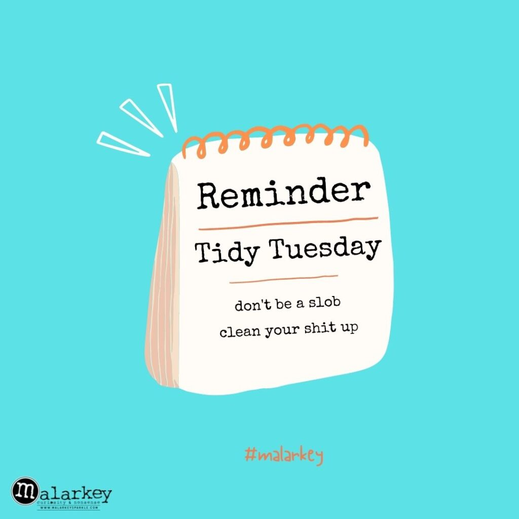 tidy tuesday - malarkey - change your habits and get your house organized